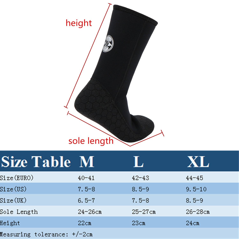 Chaussettes de plongée en néoprène épaisseur 3mm noir natation antidérapant