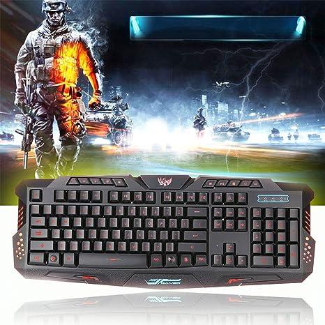 zipom Gaming Keyboard, retroiluminación LED crack 3 colores teclado ...