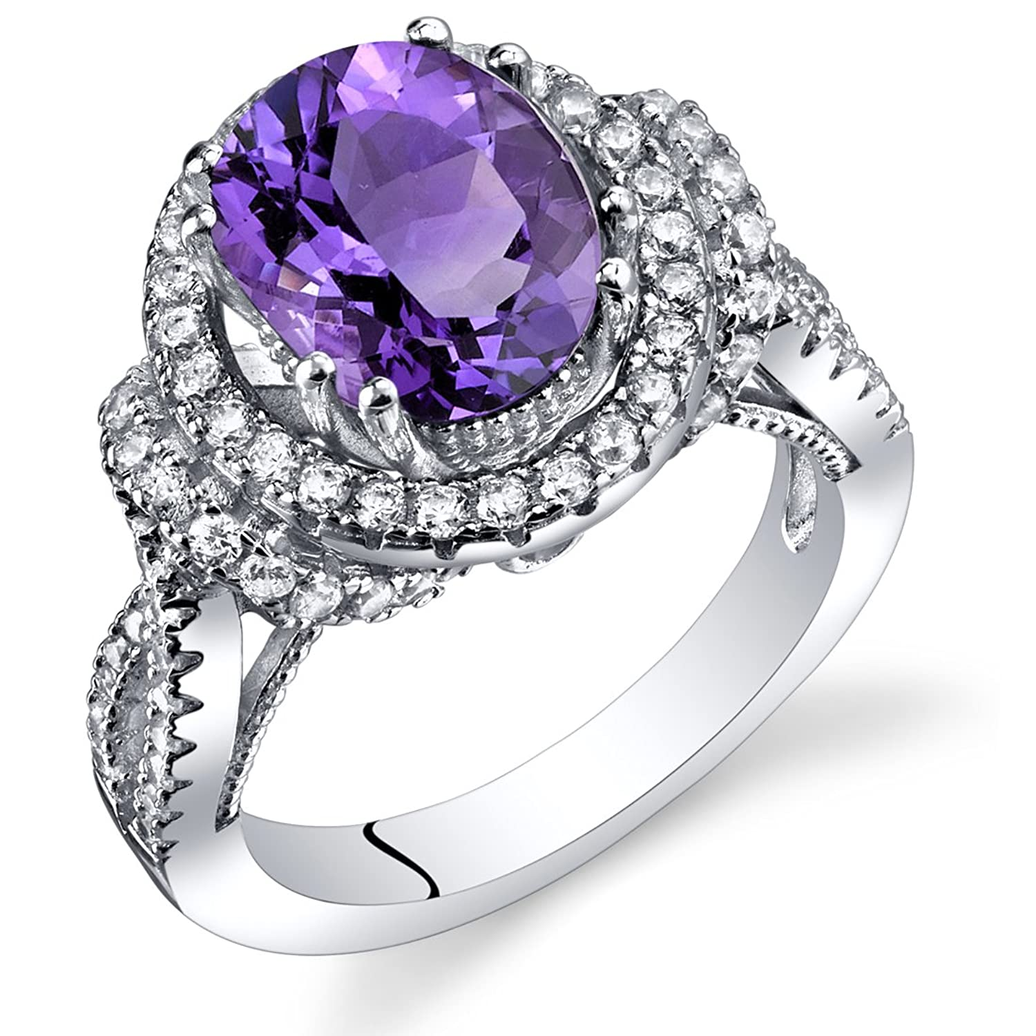Amethyst Gallery Ring Sterling Silver Oval Shape 2.25 Carats Sizes 5 to 9