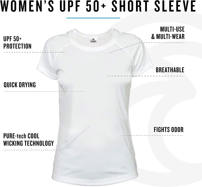 Vapor Apparel Camiseta de Manga Corta con protecci/ón Solar contra Rayos UV Factor 50+ para Mujer