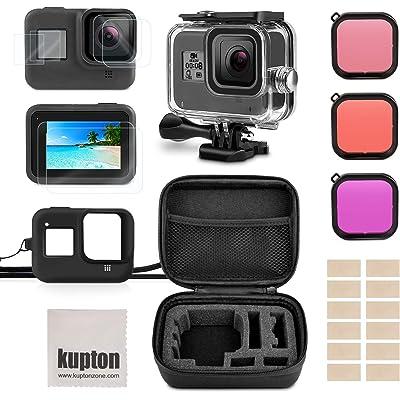 Kupton Kit de Accesorios para GoPro Hero 8, Incluye Carcasa Impermeable +Protector de Pantalla de Vidrio Templado +Estuche de Transporte +Funda de Silicona +Inserciones Antiniebla para Go Pro Hero8