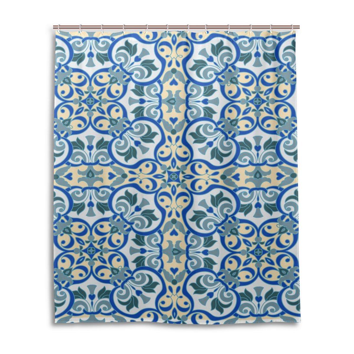 a prova di muffa poliestere tessuto bagno tenda mano disegno Zentangle Mandala in maiolica italiana Tenda da doccia 152,4/x 182,9/cm