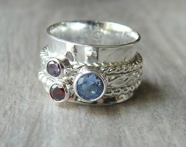 ffb98162e Amazon.com: Three Stone Spinner Ring | Sterling Silver Birthstone ...