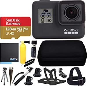GoPro HERO7 Black Sports Action Camera + SanDisk 128GB Extreme UHS-I microSDXC Memory Card + Hard Case + Head Strap & Chest Strap + Spike Mount + Floating Handle + Monopod + Hero 7 Value Accessories!