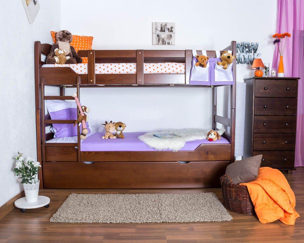 Stockbett mit Bettkasten Easy Sleep K3/h inkl. Liegeplatz und 2 Abdeckblenden, 90 x 200 cm Buche Vollholz massiv Dunkelbraun, teilbar