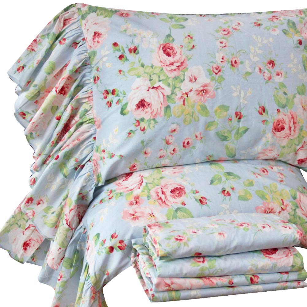 Queen's House French Country Floral Bed Sheet Sets 4-Piece Cotton Deep Pocket Set King Size-Style O