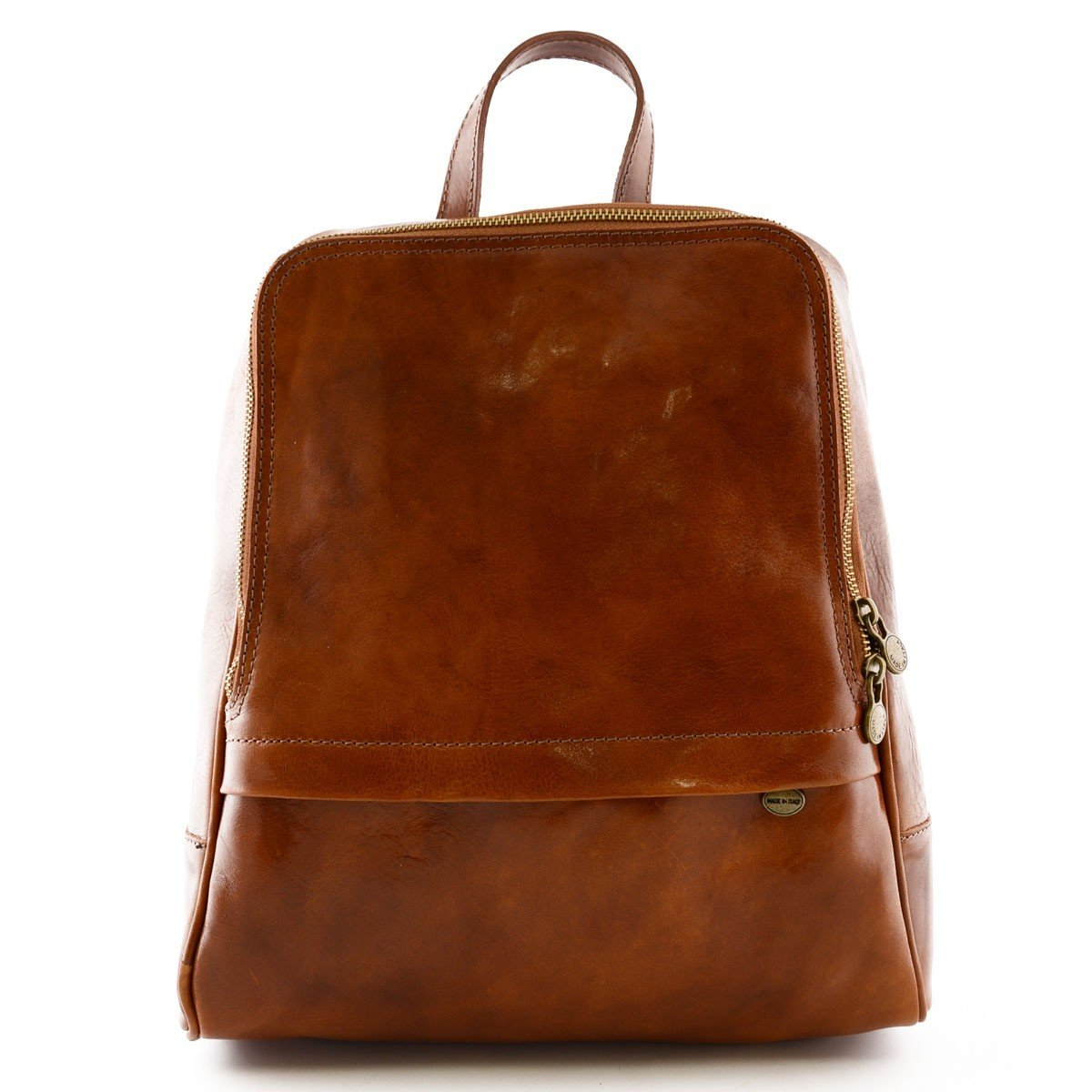 Made In Italy Genuine Leather Backpack For Men With Front Pocket Color Cognac - Backpack   B01B44BMUC
