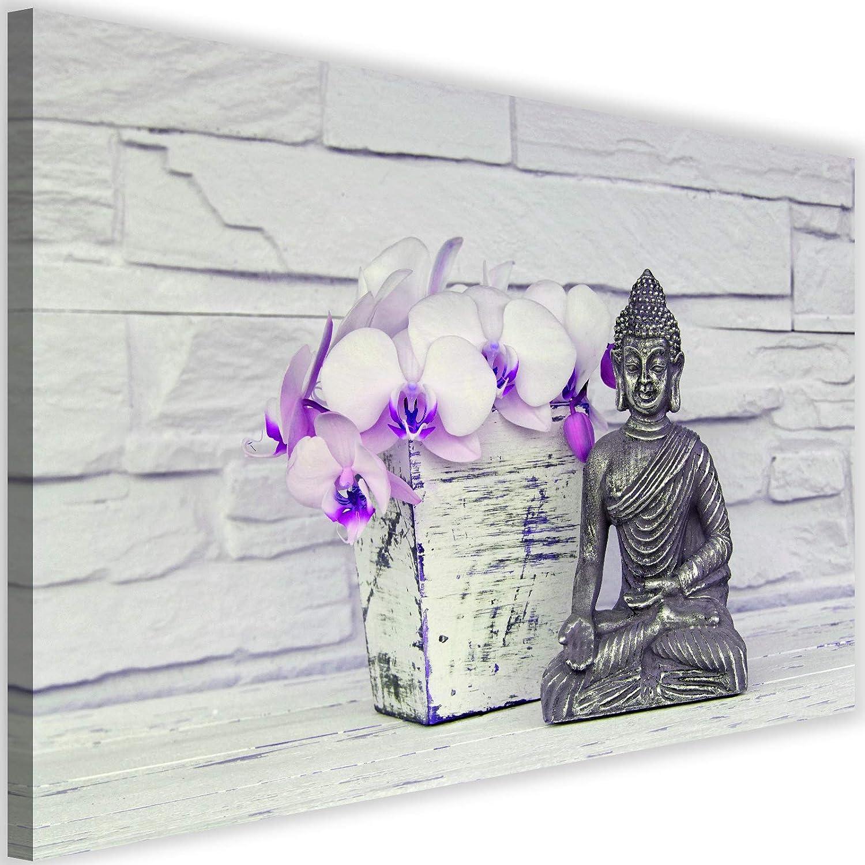 Cuadro en Lienzo Buda Calidad fotografica Figurita Flores Cultura Violeta 60x40 cm