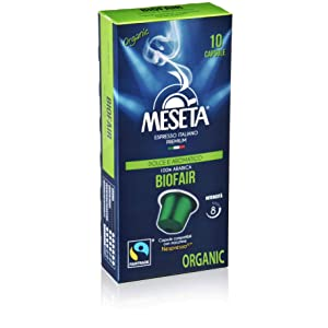 Nespresso Compatible Meseta Coffee Capsules 100 Capsules of Gourmet Organic(European Certified) 100% Arabica Coffee Espresso Compatible with Nespresso Machine