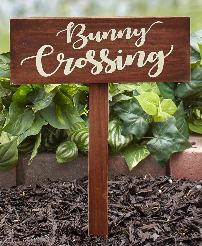 LCI Bunny Crossing Sign and Set of 5 Bunny Garden Stakes