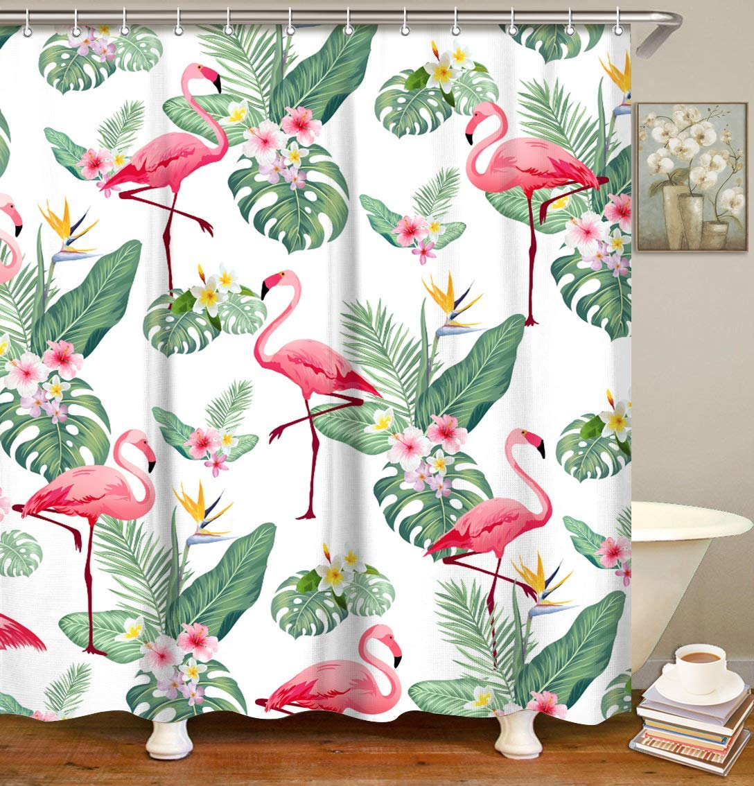 70.8 x 70.8 70.8 x 70.8 Dynabit LIVILAN Floral Shower Curtain Set with 12 Hooks Bath Curtain Fabric Mildew Resistant Privacy Curtain Home Decorations