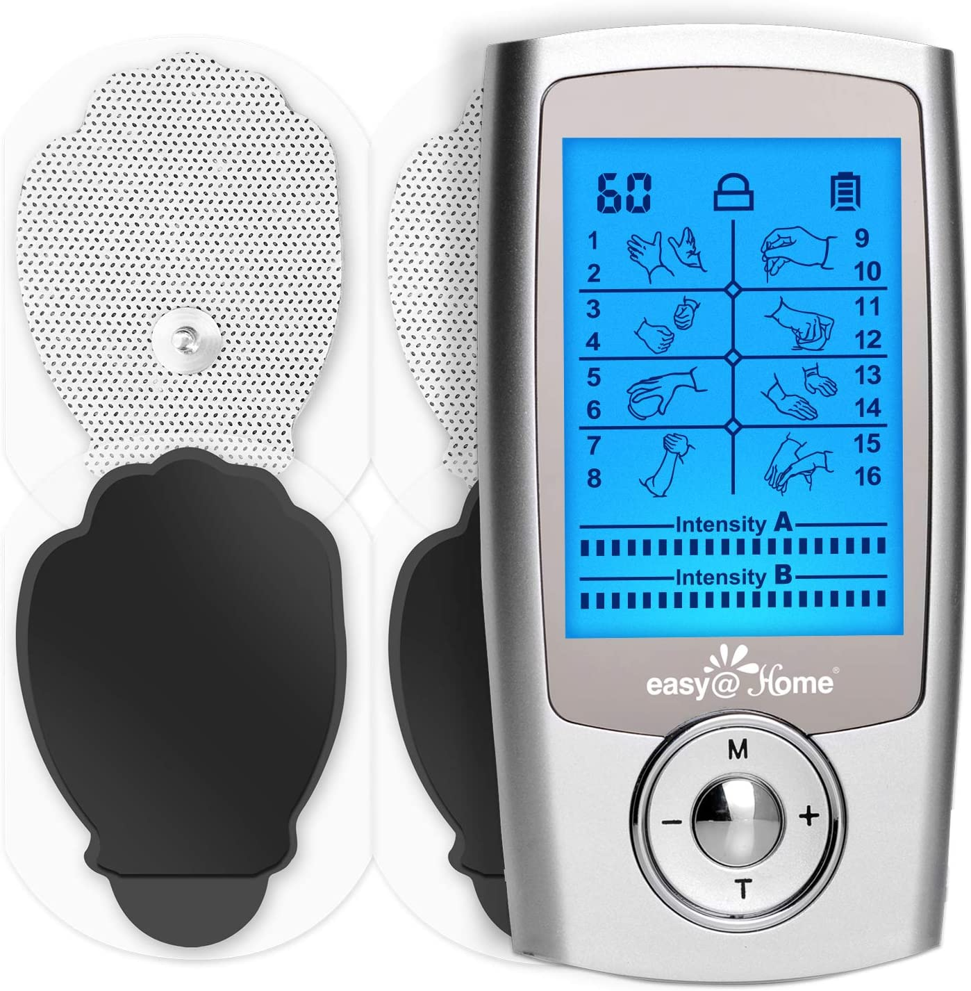 TENS Unit Muscle Stimulator - Easy@Home Electronic Pulse Massager - 510K Cleared for OTC Use Handheld Pain Relief Therapy Device – Pain Management on The Shoulder, Joint, Back, Leg&More (EHE029N)