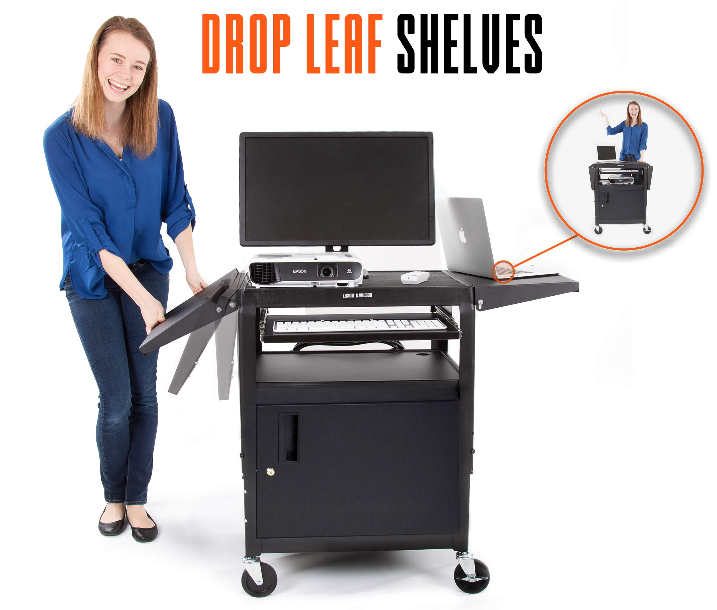 Line Leader AV Cart with Locking Cabinet and Drop Leaves | Height Adjustable Utility Cart with Extra Storage | Power Strip and Cord Management | Great for Presentations! (Black / 46'' x 18'') by Stand Steady (Image #2)