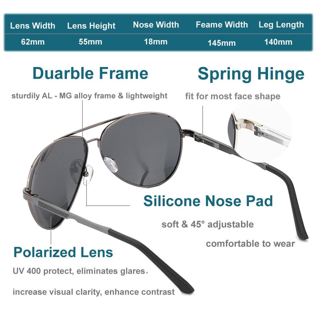 Polarized Aviator Sunglasses for Men Women Driving Vintage UV400 with Sun Glasses Case