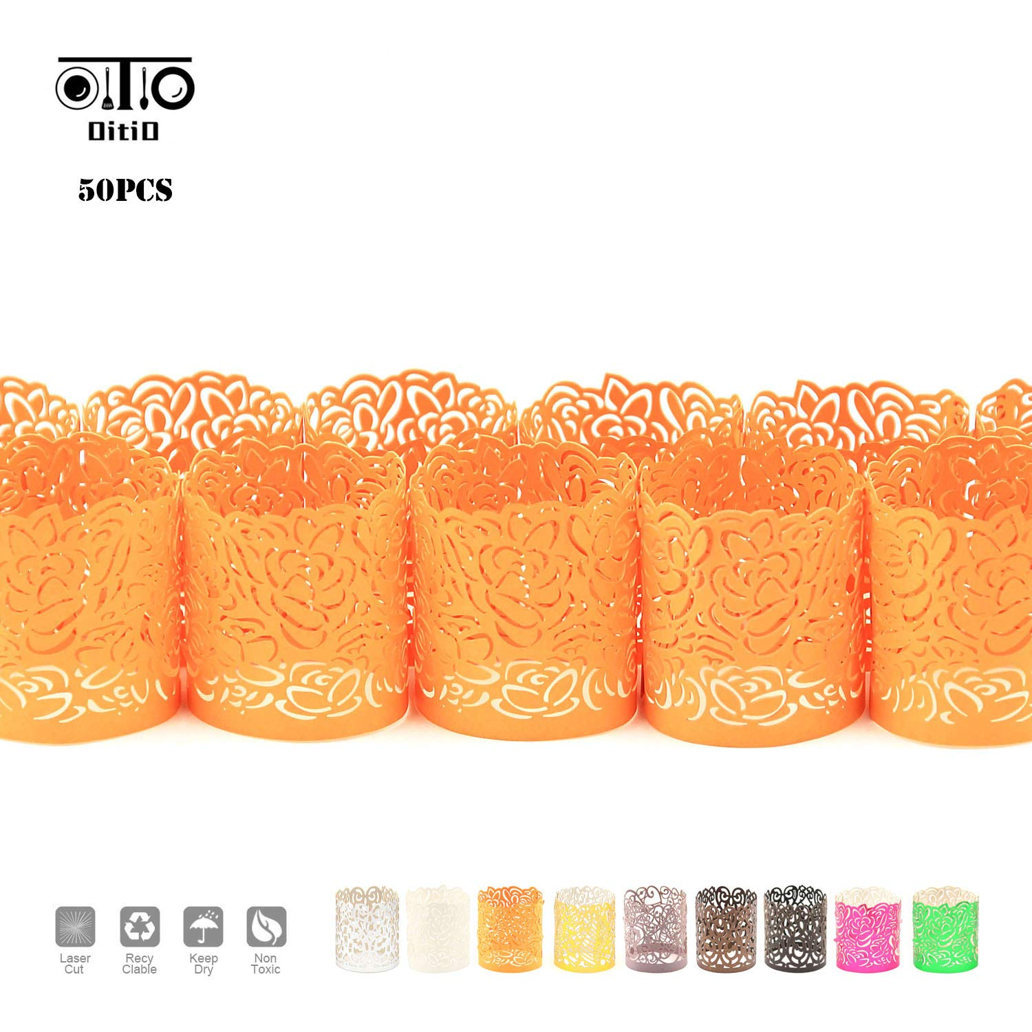 Starlight not Included OitiO Flameless Tea Light Laser Cut Decorative Wraps Candles Holders 50PCS for Flickering LED Battery Tealight Candles
