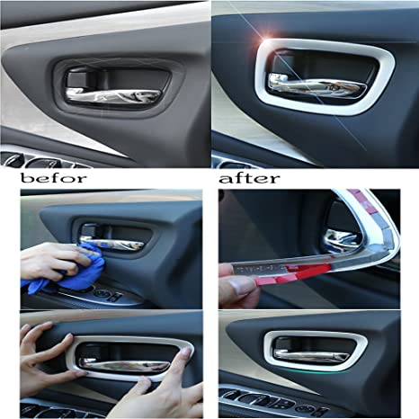 KUST lsk38417 W interior de coche Tirador de puerta Pomo Cubierta Moldeado Tapacubos (13 Unidades 1 pieza ABS Plating Recorta para instalado Tamaño): ...