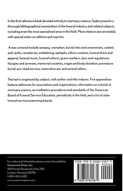 Mortuary Science: A Sourcebook: John F Szabo: 9780810845879: Amazon:  Books