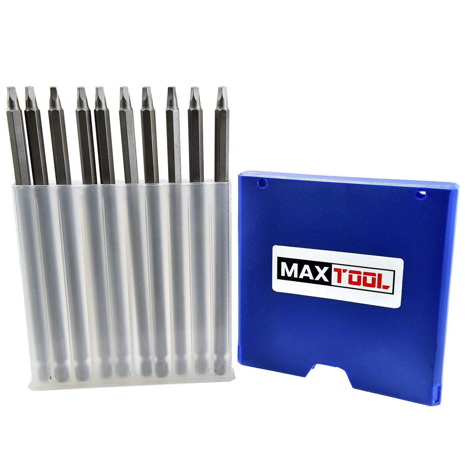 MaxTool 10PCs SQ2x6'' Identical Screwdriver Bit Set; Square Head #2; 6'' OAL; 1/4'' Hex; 6150 Alloy Steel; SQ2x6P10-6150
