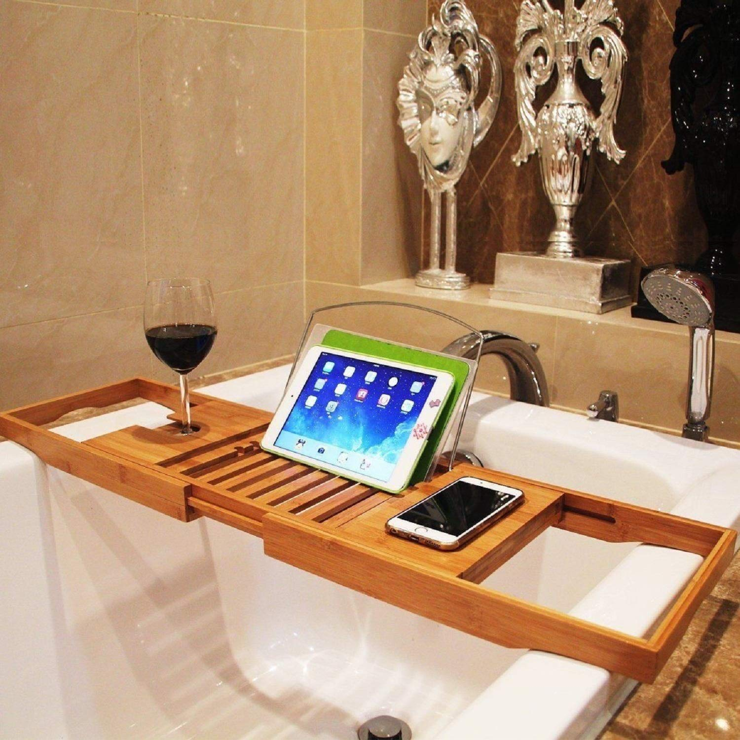 Bamboo Bathtub Caddy Tray Extendable Spa Organizer with Folding Sides Natural Ecofriendly Wood Integrated Tablet Smartphone Wine Book Holders