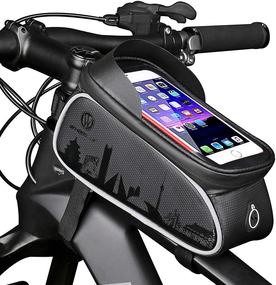 Hekiway Bike Frame Bag Waterproof And Sunshade Bike Pouch Bag Bicycle Large Capacity Storage Bag With Headphone Hole For Any Smart Phone Below 7 Inch Amazon Co Uk Sports Outdoors