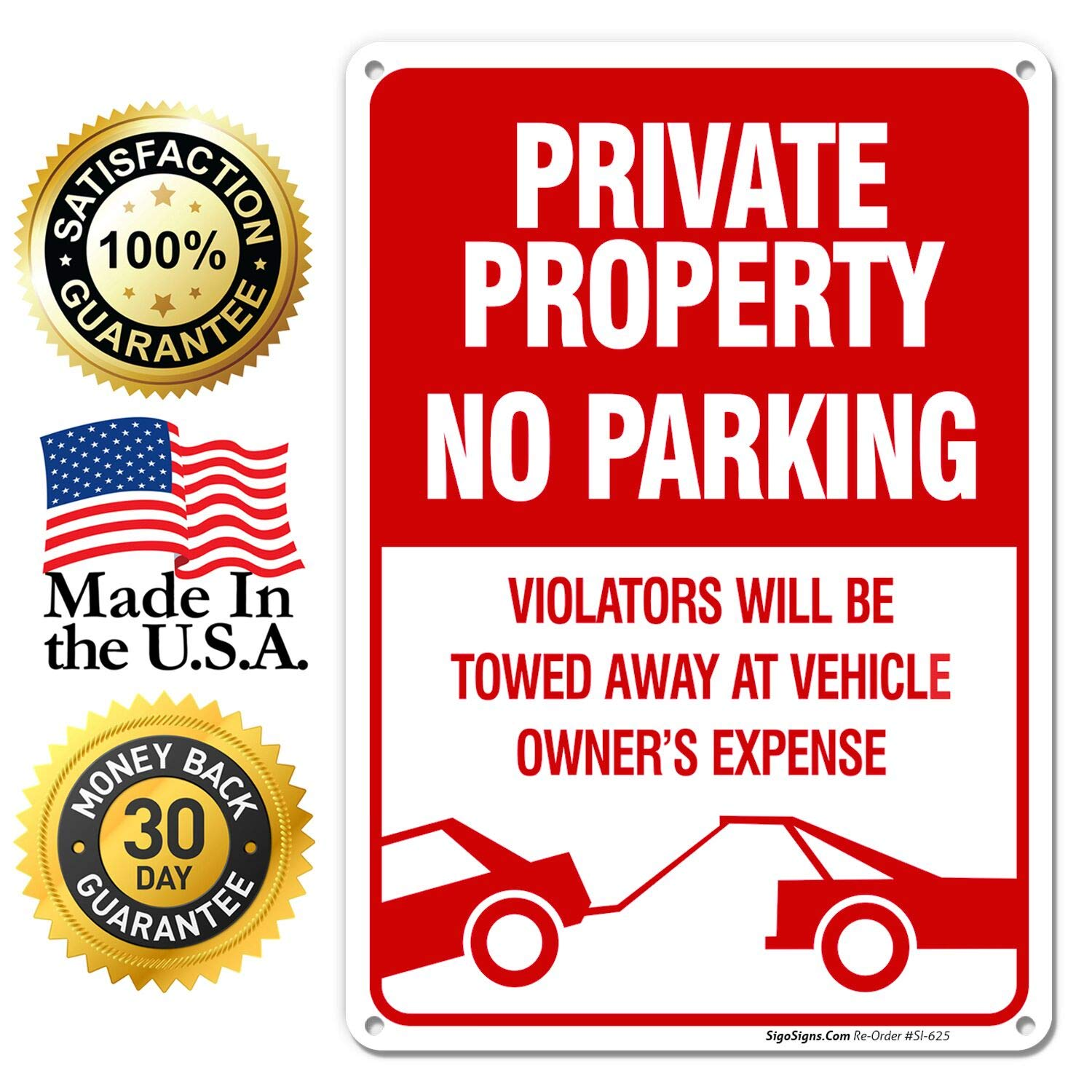 No Parking Sign Private Property Sign Violators Will Be Towed Sign, 10x14  Rust Free Aluminum UV Printed, Easy to Mount Weather Resistant Long Lasting