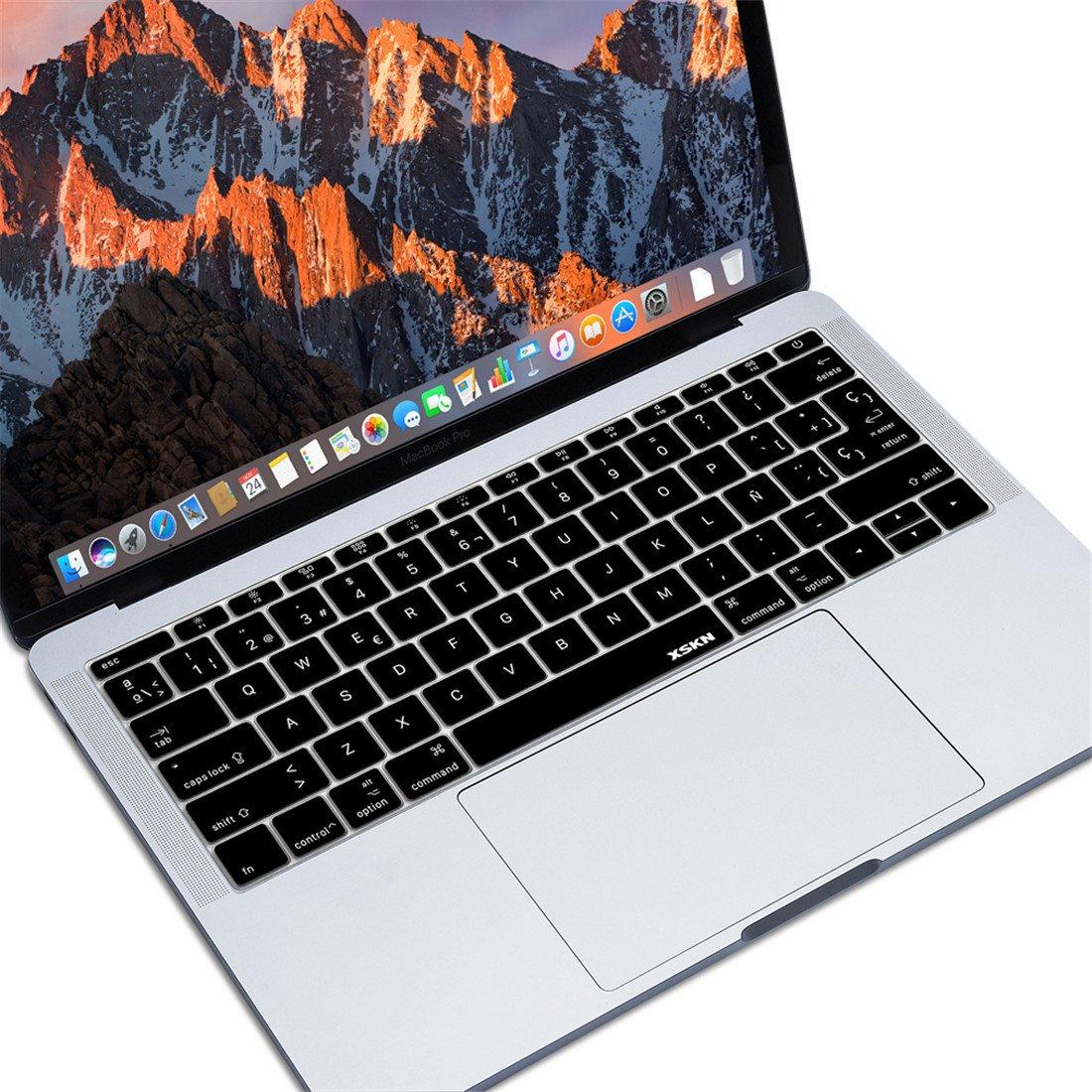 XSKN. Lámina protectora de silicona suave para teclado español de MacBook Pro 13 Retina A1708 (2016, sin Touch Bar) y Macbook 12 con teclado ISO de Estados ...