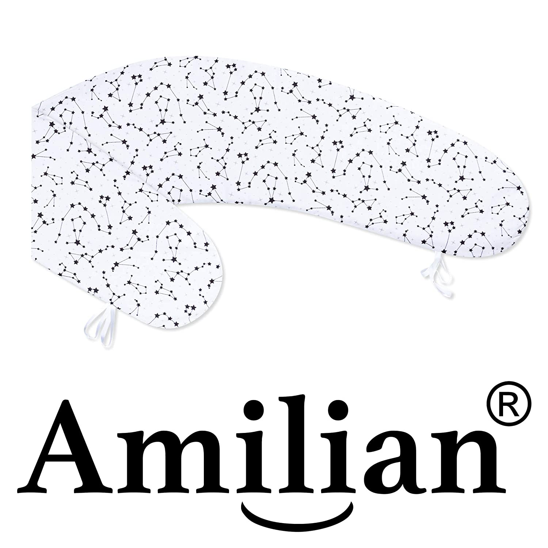 Amilian Bezug f/ür Stillkissen Schwangerschaftskissen Lagerungskissen 170cm Bezug 100/% Baumwolle mit Rei/ßverschluss f/ürs Baby in vielen Designs erh/ältlich Muster Daune Grau