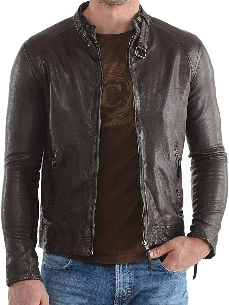 New Mens Leather Motorcycle Jacket Slim Fit Leather Coats LF508
