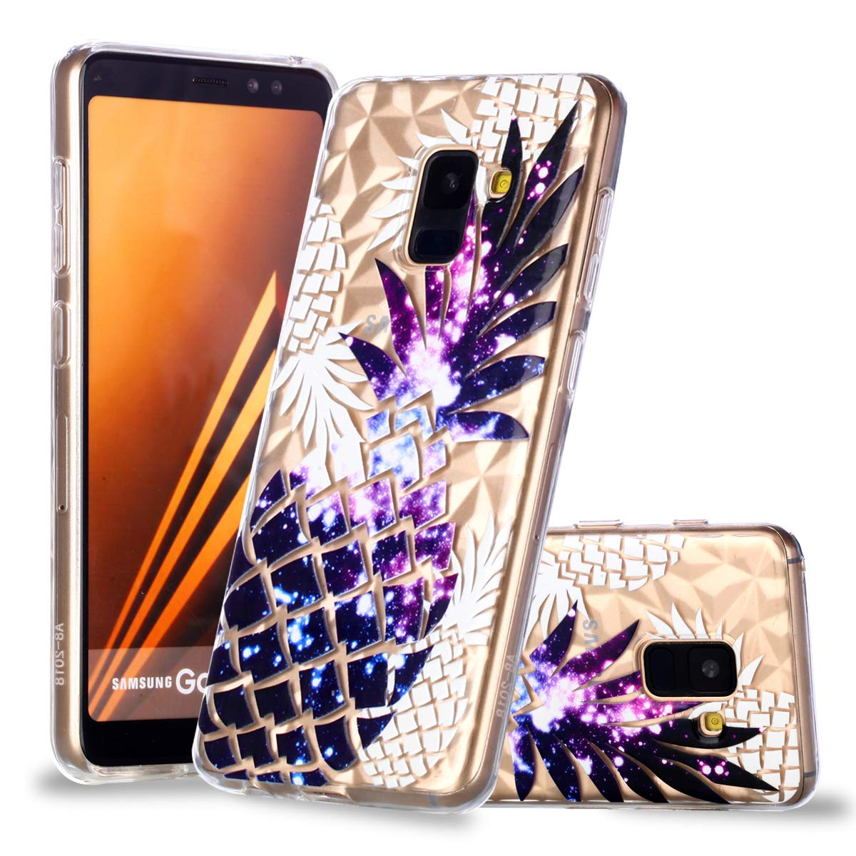 Ultra Slim Soft Clear Case for Samsung Galaxy A8 2018, Gostyle Samsung Galaxy A8 2018 Case Embossed Blue Lotus Flower Geometric Pattern, Flexible TPU Silicone Protective Back Cover