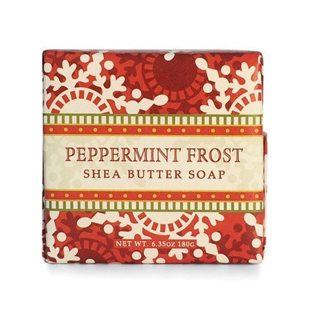 Greenwich Bay Peppermint Frost Shea Butter Soap - Enriched with Peppermint Oil & Shea Butter - 6.35 Oz Holiday Vegetable Soap Bar Greenwich Bay Trading Company