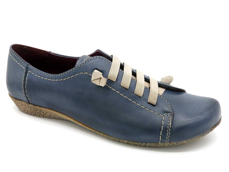 DigoDigo - Made In Spain - sportliche Echtleder Damen Turnschuhe Schuhe mit elastischen Schnürsenkeln. Weiches Glatt-Leder 454 Navy dunkel-blau