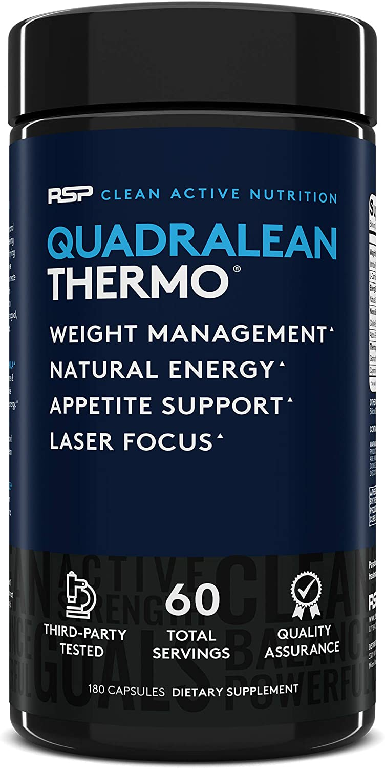 RSP QuadraLean Thermogenic Fat Burner for Men Women, Weight Loss Supplement, Crash-Free Energy, Metabolism Booster Appetite Suppressant, Diet Pills, 60 Serv Packaging May Vary