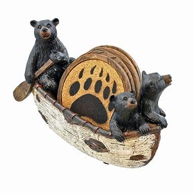 LL Home 3 Black Bears Canoeing Coaster Set - 4 Coasters Rustic Cabin Canoe Cub Decor