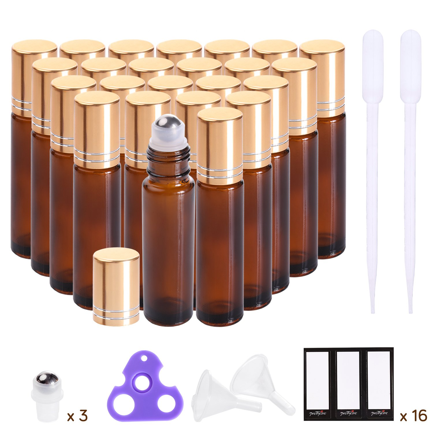 Essential Oil Roller Bottles 10ml (Amber Glass Bottle, 24 pack, 6 Extra Roller Balls,48 Labels, 2 Openers, 2 Funnels by PrettyCare) Roller Balls For Essential Oils, Roll on Bottles