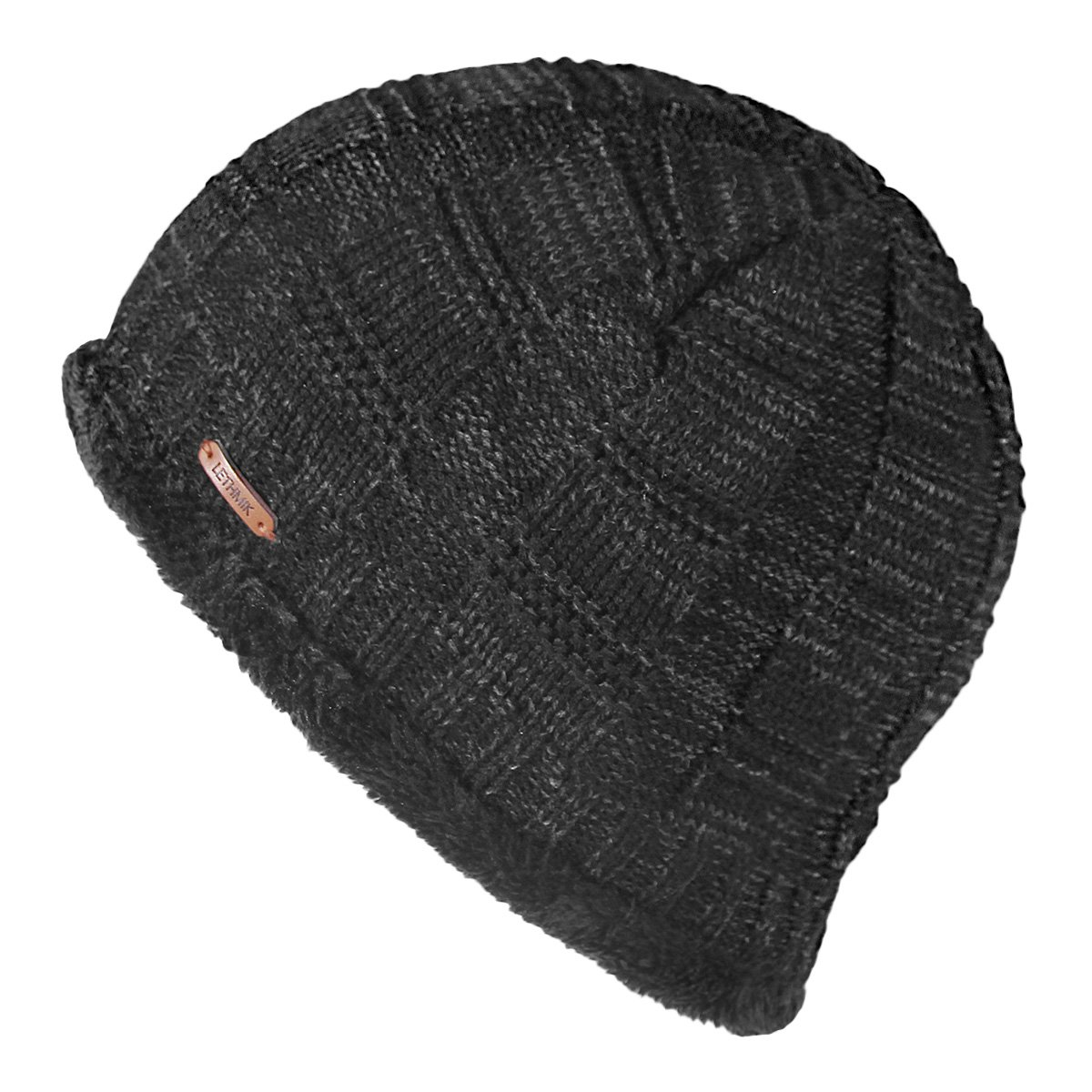 8086df0df4c3f LETHMIK Unique Ribbed Knit Beanie Warm Thick Fleece Lined Hat Mens Winter  Skull Cap Black at Amazon Men s Clothing store