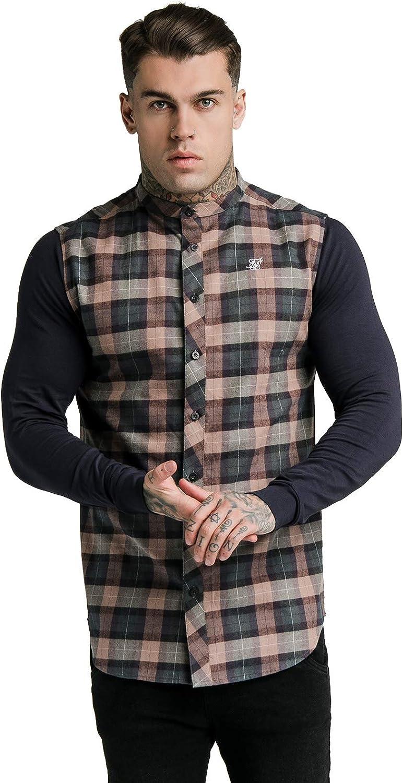 SikSilk - Camisa de franela para hombre, color azul marino y marrón: Amazon.es: Ropa y accesorios