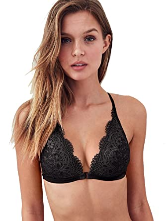 dc0672d98d3a8 Victoria s Secret Front-Close Bralette Crochet Lace Black at Amazon ...