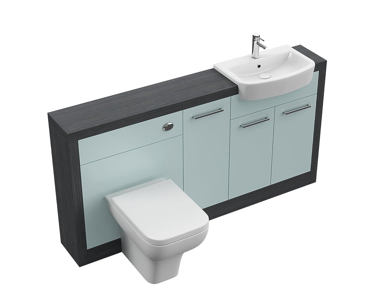 Modern Vanity Unit In Duck Egg Blue Frame With Toilet, Ceramic Basin ...