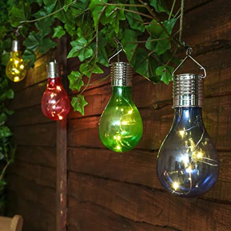 LtrottedJ- Bombilla solar, impermeable, giratoria, para exteriores, jardín, acampada, luz LED para colgar, bombilla BU: Amazon.es: Hogar