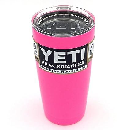 8a80c989cf4 Amazon.com: Powder Coated 20oz Yeti Rambler (Gloss Hot Pink): Sports &  Outdoors
