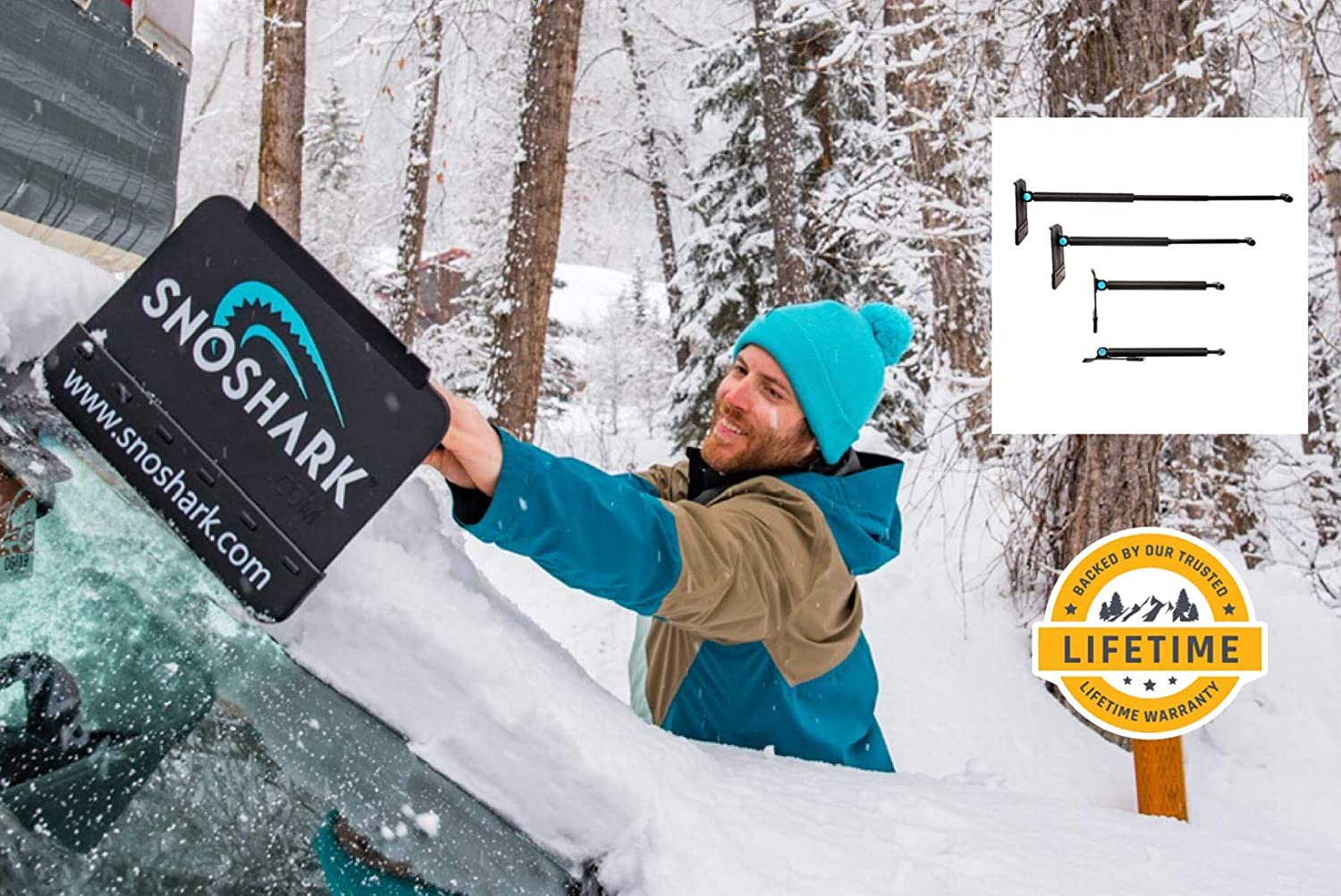 """SnoShark Snow & Ice Removal Tool - Extends to 39"""" - Collapsible for Convenient Storage - Heavy Duty & Durable - Includes Storage Bag - Foam Pad Prevents Scratching"""