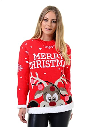 8f460fc6c733 URBAN CULT Womens Crew Neck Long Sleeve Christmas Jumper (Merry Christmas  Rudolph Pom Pom) RED/2XL: Amazon.co.uk: Clothing