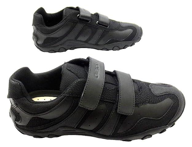 Geox J Crush M, Chaussures de ville à lacets pour garçon Noir noir - Noir - noir, 4 UK