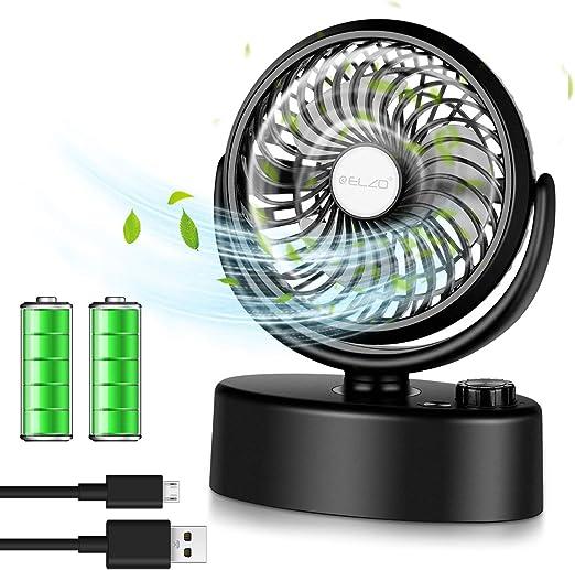 ELZO Ventilador USB, 360°Giratorio Mini Ventilador 4800mAh Batería ...