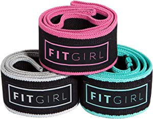 FITGIRL - The Best Resistance Bands Set for Women, Exercise Mini Bands for Working Out Your Booty and Legs, Workout at Home or The Gym, Fitness Fabric Loop Band, Elastic Soft Non Slip Design - 3 Pack
