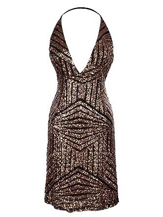 7fedea55623 Anna-Kaci Sexy Sequin Halter Cocktail Dress V Neck Backless Sleeveless  Bodycon