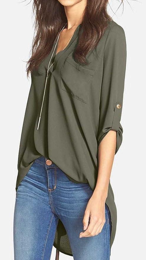 045eab56004 Amazon.com: Women's Roll Tab Sleeve Tunic, Perfect Long for Leggings Shirt  Cute Versatile Top: Clothing