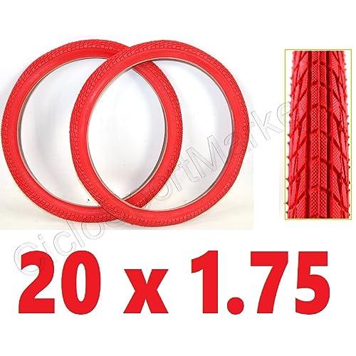 ciclosportmarket 2x pneu 20x 1.75Rouge Graziella/BMX/vélo pour enfant taille 20–Livraison 24–48heures