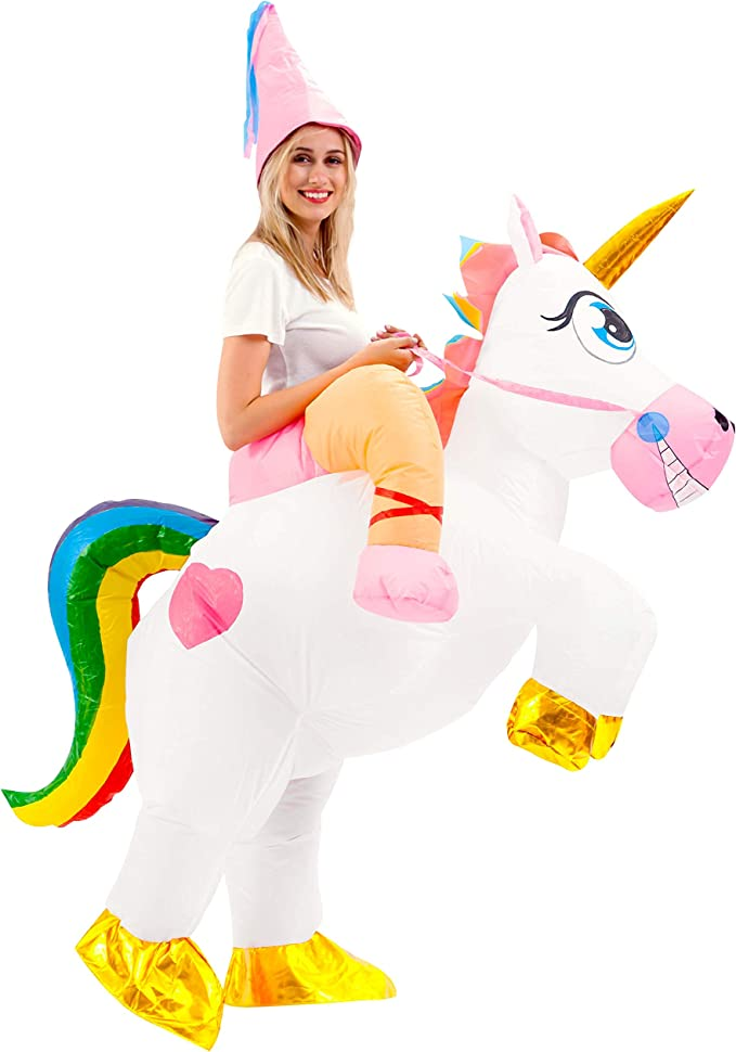 Spooktacular Creations Inflatable Costume Unicorn Riding a Unicorn Air Blow-up Deluxe Halloween Costume - Adult Size