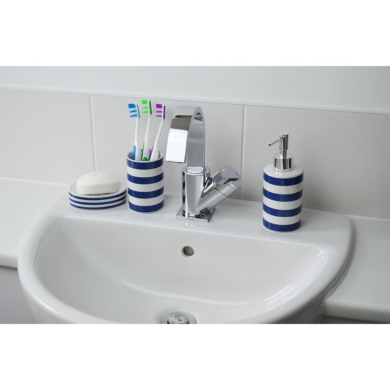 Amazon.com: Harbour Housewares Blue and White Striped Ceramic 3 ...